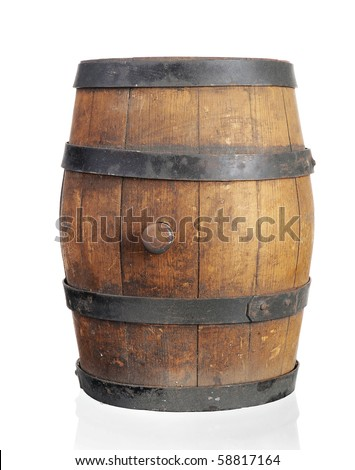 Wooden barrel with iron rings. Isolated on white background