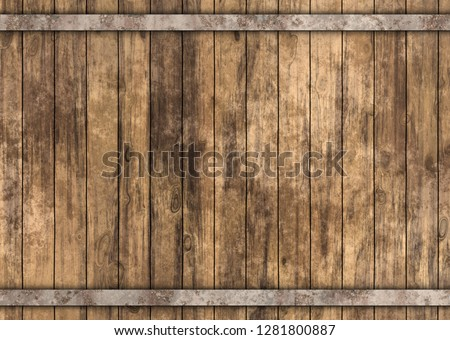wooden barrel with metal rusty straps template