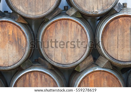 Wooden barrels at the winery