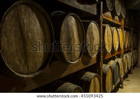 wooden barrels deposit for...