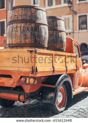wooden barrels in a vintage...