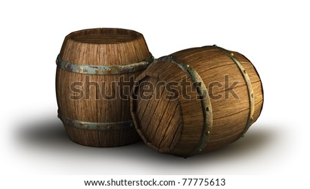 Wooden barrels, isolated on white 3d