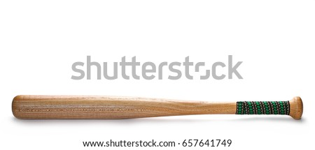 Wooden baseball bat isolated on white background
