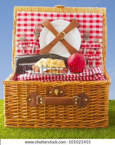 Wooden basket for picnic with sandwich, wine and apple over a grass field