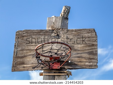Wooden Basketball Hoop on the sky background