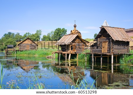 wooden bath near the lake in summer