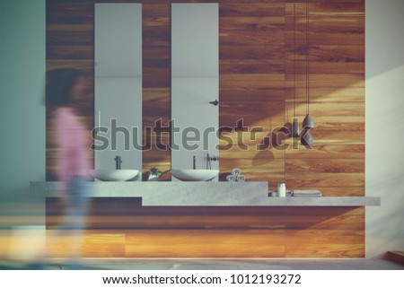 Wooden bathroom, sinks and lamps toned #1012193272