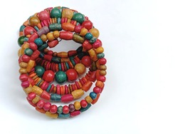 Wooden beads ethnic jewelry. Traditional Handcrafted Colourful necklace bracelet used in fashion, accessories gift items. Handicraft from India. Beautiful, natural product.