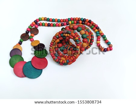 Wooden beads ethnic jewelry. Traditional Handcrafted Colourful necklace bracelet used in fashion, accessories gift items. Handicraft from India. Beautiful, natural product. #1553808734