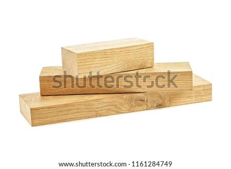 Wooden beams on white background. Oak beam. #1161284749