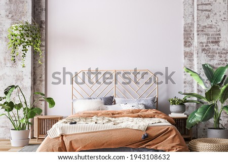 Wooden bed in loft apartment design, interior of bedroom with empty wall mockup, 3d render, 3d illustration