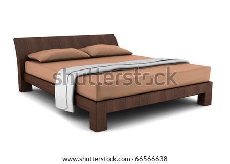 wooden bed isolated on white background  #66566638