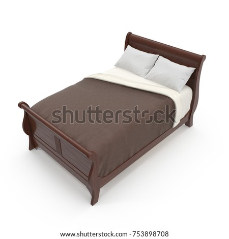 wooden bed isolated on white background. 3D illustration #753898708