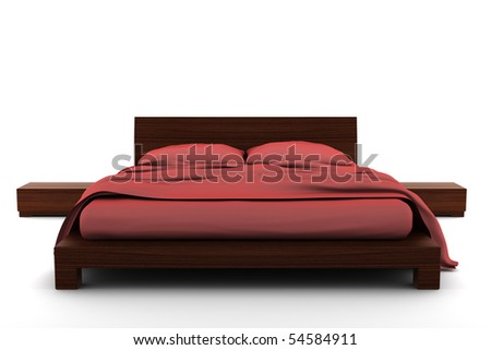wooden bed isolated on white background with clipping path