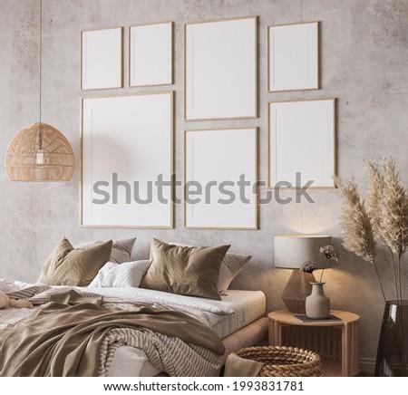 Wooden bedroom design with gallery wall frame mockup in loft apartment interior, 3d render, 3d illustration