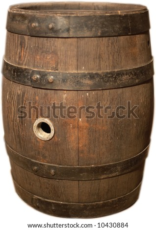 wooden beer keg isolated