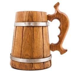 wooden beer mug isolated on white background