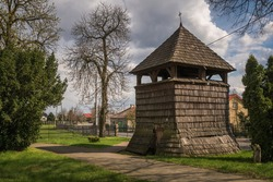 Wooden belfry in Sobikow near Gora Kalwaria, Masovia, Poland