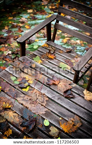Wooden bench and table covered with fallen autumn leaves