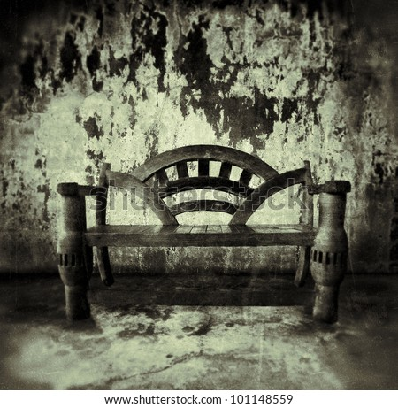 wooden bench in old room