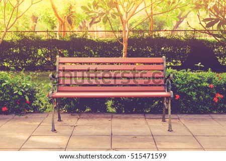 wooden bench in the city park...