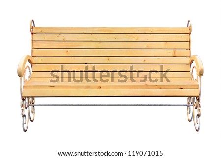 Wooden bench isolated on white (with clipping path)