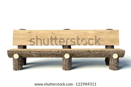 Wooden bench made of tree trunks, object