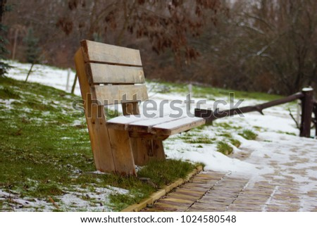 Wooden bench, Snow on a wooden bench, Wooden bench, Lavochka green grass #1024580548