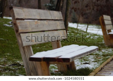 Wooden bench, Snow on a wooden bench, Wooden bench, Lavochka green grass #1024580551