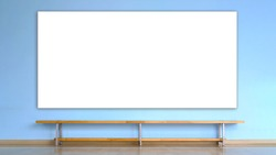 wooden bench stands on parquet floor in empty room with blue concrete wall with big white blank poster mock-up