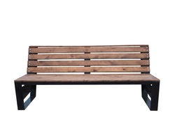 wooden bench with black frame in the park isolated on white