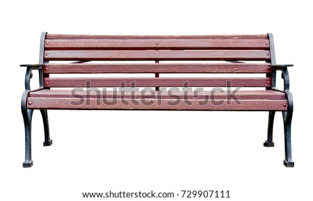 Wooden bench with wrought sidewalls isolated on a white background #729907111