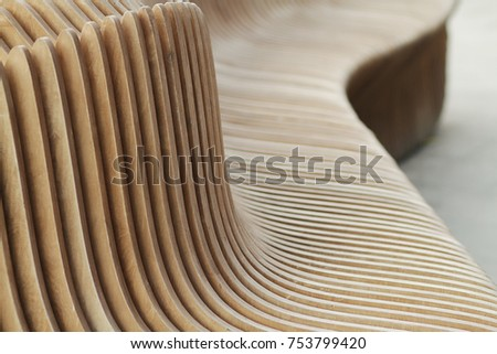 Wooden benches in city . Art benches . Designer city benches . Urban benches #753799420