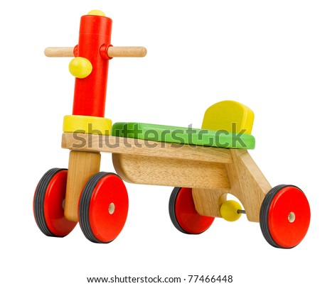 Wooden bicycle toy for kids to learn to drives isolated on white