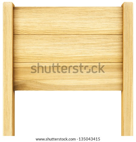 wooden billboard. Isolated on white.