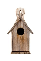 Wooden Bird House Isolated on White