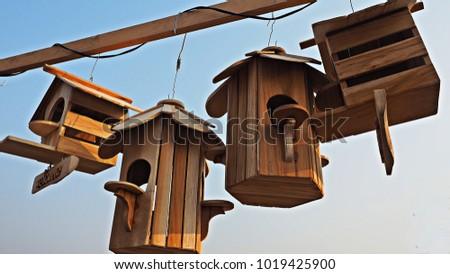 wooden bird houses hanging in...