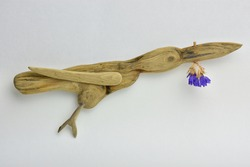 Wooden bird made of the sea drift wood pieces flying with flower in its beak. Driftwood natural decoration. Driftwood hand made crafts.