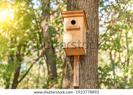Wooden birdhouse for birds on a tree in the park. ストックフォト ©