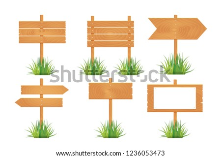 Wooden blank board signs spring time with grass.  illustration. #1236053473
