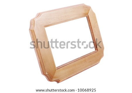 wooden blank frame isolated on white