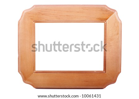 Wooden blank frame isolated over a white background
