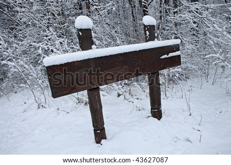 Wooden blank sign in forest.