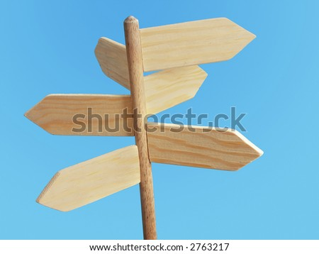 Wooden blank signpost indicating six directions of the world over blue background