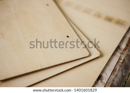 Wooden blanks for books from wood. pieces of plywood