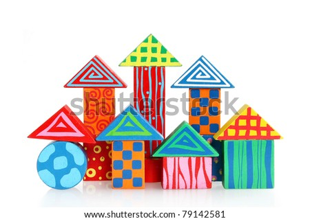 Wooden block houses