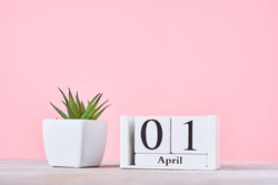 Wooden blocks calendar with date 1st april and plant on pink background. April fools day concept
