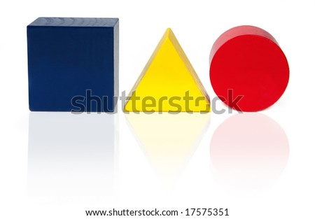 Wooden blocks in the shape of a square, triangle and circle, in primary colours.