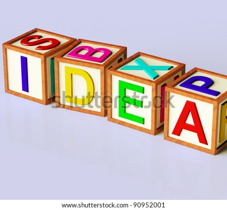 Wooden Blocks Spelling Idea As Symbol for Creativity And Inventions
