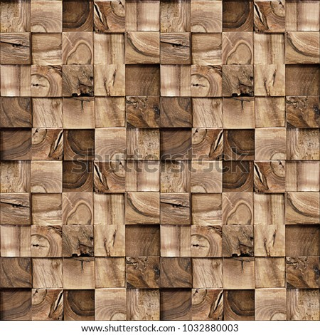 Wooden blocks stacked for seamless background - repeating texture - paneling pattern